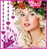 Bisous Femme chapeau de fleurs