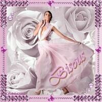 Bisous Femme robe voile rose