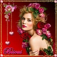 Bisous Femme et couronne de fleurs