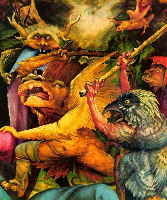 Démons tourmentant St Antoine, de matthias Grünewald, détails