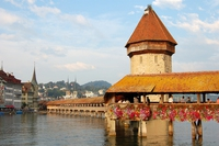 pont de la Chapelle à Lucerne (Suisse) reconstruit en 94