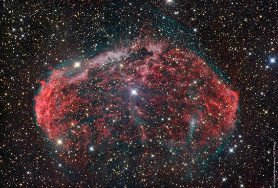 nebuleuse du croissant nichée dans la constellation du cygne