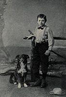 Jack London gamin âgé de 9 ans avec son chien Rollo en 1885