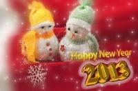 15797132-bonne-annee-2013-cartes-de-v-ux-avec-deux-mignons-petits-bonhommes-de-neige-sur-un-fond-rou