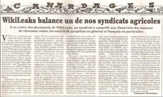 MAGOUILLES DE LA FNSEA ( Wikileaks )