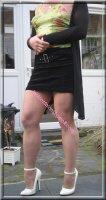 jupe noir velours top vert 10