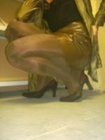 Chaussures bordeau brillante jupe cuir marron19