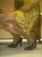Chaussures bordeau brillante jupe cuir marron32