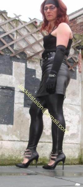 Legging similie cuir et jupe cuir 32
