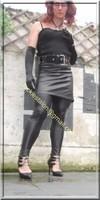 Legging similie cuir et jupe cuir 42