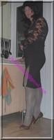 longue jupe marron avec fente avec visage 3