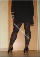 minijupe jeans top noir legging dentelle marron 14