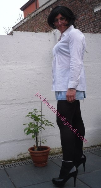 minijupe jeans chemise blanche6