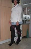 minijupe jeans chemise blanche1