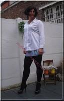 minijupe jeans chemise blanche9