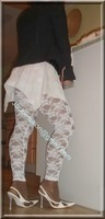 robe blanche collants dentelle 38