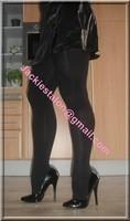 Escarpins noir 14cm pleasure avec jupe cuirbis