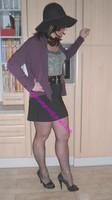 jupe courte noir top noir 1 visage