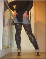 minijupe jeans top noir 8