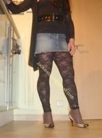minijupe jeans top noir 7