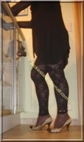 minijupe jeans top noir