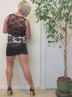 Blouse noir dessin blanc dentelle dos avec jupe noir Oh Boy clockhouse 16