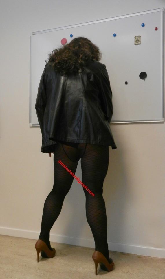 jupe noir vynil et veste vynil noir 2