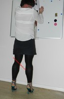 jupe grise et noir esprit chemise  blanche 2