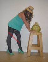 jupe noir vynil top vert Jacq 27
