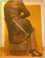 sandale noir avec chemise tranparente et string