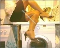 sandale noir avec chemise tranparente et string 174