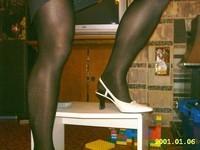 Chaussures blanches avec collant noir