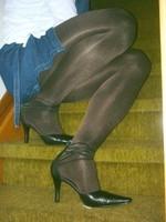 Escarpins tirette derriere collants brillant avec robe en jeans20