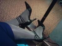 escarpins avec tirette derriere cm  robe bleu a fente 14