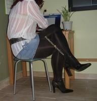 minijupe jeans collants marron fonce 1
