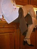 chaussures mauve ouvertes bas blanc longue jupe marron 38 [800x600]