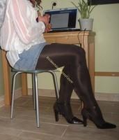 minijupe jeans collants marron fonce 2