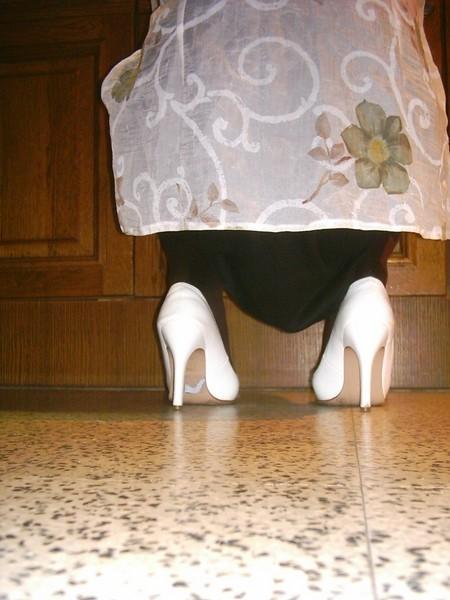 Escarpins blanches 11cm avec petit noeud11