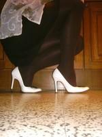 Escarpins blanches 11cm avec petit noeud12