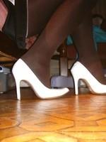 Escarpins blanches 11cm avec petit noeud40