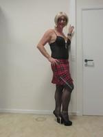 Jupe carreau rouge et noir Astrid et body string noir 13