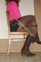 jupette noir pull rose 1