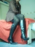 Bottes en dessous du genou a tallon aiguille avec jupe noircollant dessin 7