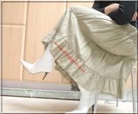 longue jupe beige velours 8