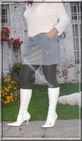 minijupe jeans pull blanc