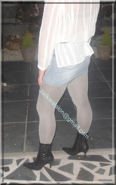 minijupe jeans chemise blanche 3