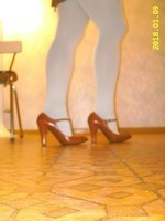collant blanc chaussures bordeau avec bride