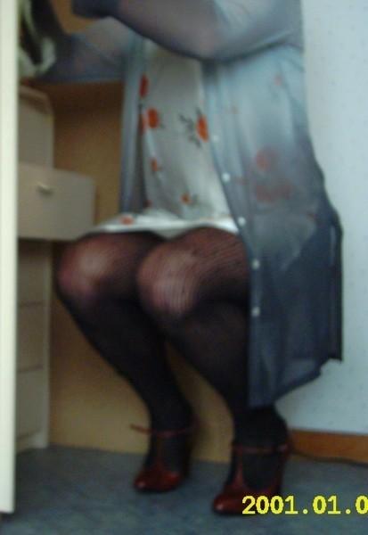robe a fleur avec collant resille et chaussure bordeau avec bride 1