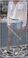 minijupe jeans chemise blanche 1