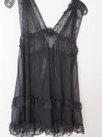 Nuisette noir transparente avec dentelle grand decolete dos et devant devant